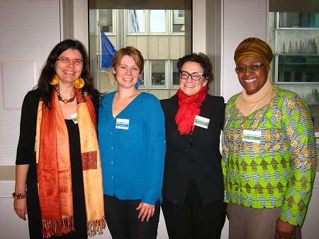 Ms. Fabienne Richard (Coordinator, GAMS), Ms. Sibylle Schreiber (Head of Division, TERRE DES FEMMES, Germany), Ms. Daniela Bankier (Head of Unit, Gender Equality, DG Justice), and Ms. Naana Otoo- Oyortey (Executive Director, FORWARD, UK)
