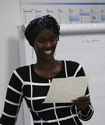 Fadhumo Musa at the CHANGE Agent Training in Berlin. Photo: © TERRE DES FEMMES