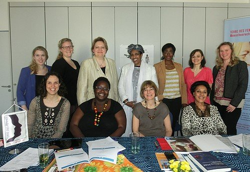 Back row, from left to right: Kerstin Nacke (TDF), Samantha Ruppel (TDF), Christa Stolle (TDF), Zahra Siad Naleie (FSAN), Gwladys Awo (Plan International), Isabelle Louis (EC), Katharina Kuss (TDF).  Front row, from left to right: Franziska Gruber (TDF), Kekeli Ablavi Kpognon (FORWARD), Tobe Levin Freifrau von Gleichen (EuroNet FGM), Fana Habeteab (RISK).  Picture: ©TERRE DES FEMMES