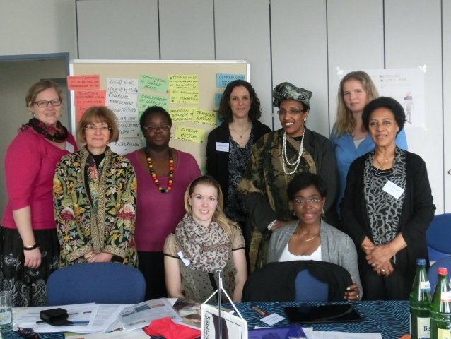 Back row, from left to right: Samantha Ruppel (TDF), Tobe Levin Freifrau von Gleichen (EuroNet FGM), Kekeli Ablavi Kpognon (FORWARD), Franziska Gruber (TDF), Zahra Siad Naleie (FSAN), Katharina Kuss (TDF), Fana Habeteab (RISK).Front row, from left to right: Kerstin Nacke (TDF), Gwladys Awo (Plan International).Picture: ©TERRE DES FEMMES